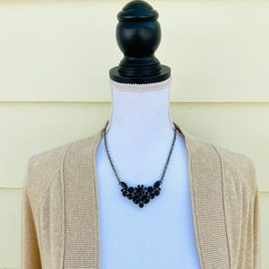 J Crew Black Bead Antique Gold Tone Necklace